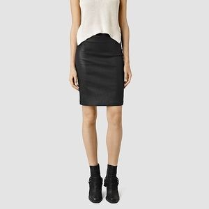 All Saints Metal Pencil Skirt Size 4 Black